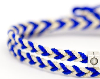 Bracelet braided rope timeless blue & white