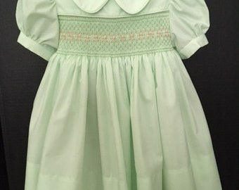 Hand Smocked Lime Sherbert  Dress Fully Lined  Size 1  Ready To Ship