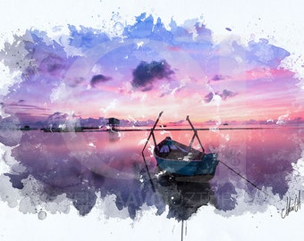 Sunrise Digital Watercolour Painting Printable Artworks – Pastel Colours, Home Decor, Sea, Sun, Boat, Peace, Sky, Gift, Present