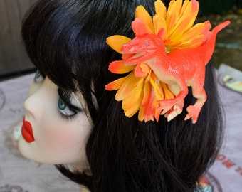Hair Flower Dinosaur/ Barrette Fleur Dinosaure
