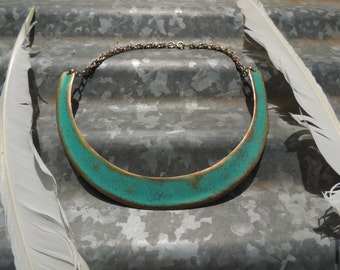 Goddess Collar Necklace | Turquoise & Gold Choker >>FREE GIFT<<