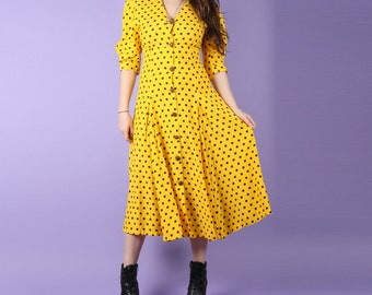 80s Vintage Yellow Polka Dot Summer Dress