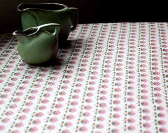 Pink Indian tablecloth wood-block printed in pink and green