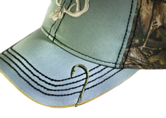 Camo fish hook hat pin hat clip for hat or cap money for Fishing hooks for hats