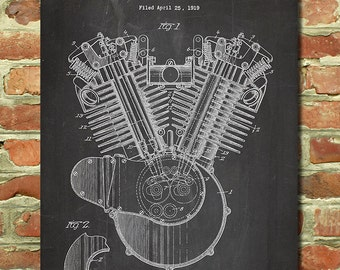 Harley Davidson Motorcycle Poster Motorcycle Decor Harley Art Motorcycle Nursery Harley Decor Father Motorcycle Gift for Mechanic Gift P155