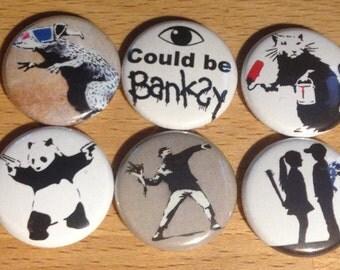 Banksy Street Art Button Set, 6x 1in Pin Set, Banksy Street Art