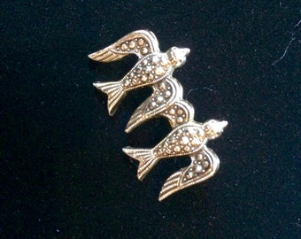 Vintage Silvertone Brooch Two Flying Marcasite Birds made in W. Germany