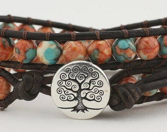 Leather wrap bracelet, double wrap, leather bracelet, rain flower, wrap, beaded bracelet, beads, women's bracelet, leather, leather wrap