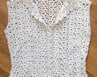 Swiss Lace Top Vintage 1940 Cap Sleeves Small Shawl collar Slim Waisted