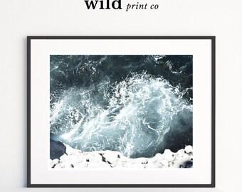 Ocean Waves Print, Beach Print, Cliffside Ocean Wall Art, Coastal Wall Art, Turquoise Blue Aqua, Ocean Water Print, Beach House Decor