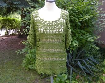 Longsleeve shirt crochet tunic green green, size 40-44.