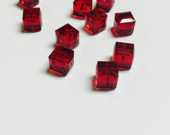Swarovski Cubes 8 MM Siam - 10 Pieces - CB005
