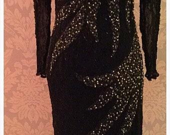 Vintage 'PARIGI' Designer Evening Dress. Parigi Designer Long Evening Dress. Silk & Sequins. SALE Reduced From 145.