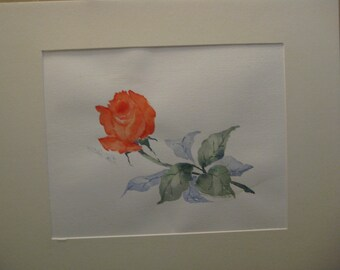 16x20 Watercolor Single Red Rose, Original, matted, included