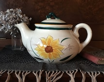 Stangl Pottery Tea Pot Vintage - Terra Rose Garden Flower with Lid - Hand Painted Yellow Sunflower