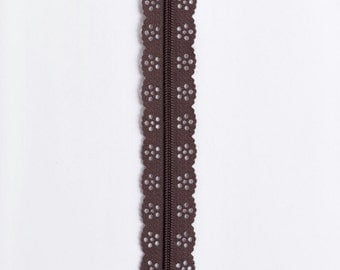 "Brown Lace Zipper - Brown Zippers - Lace Zippers - 8"" Zippers - YKK Zipper - Purse Zippers - Bag Zippers - Sewing Zippers - Bag Notions"