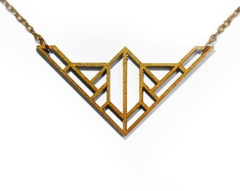 Gold Geometric Laser Cut Wooden Necklace : #5