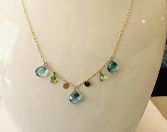 Aquamarine Peridot Briolette Gemstone Necklace, March Birthstone