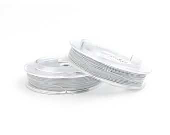 0.4 White Nylon Coated Stainless Steel Wire, Tiger Tail, Beading Wire, Jewelry Wire, Necklace Wire, 100m