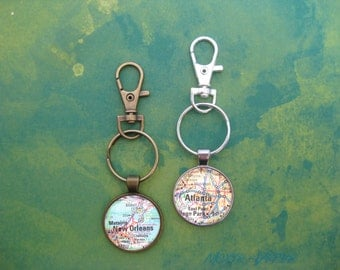 Custom Map Keychain, Map Gifts, Map Jewelry, City, State, Country, Park, Landmark Maps, Atlas