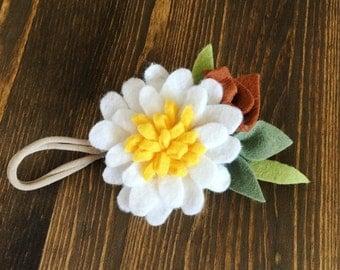 SALE*** Felt Flower Headband (White flower w/ bright yellow center and  cinnamon details)