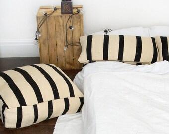 Moroccan Vintage Floor Cushion/Pouf In Cream/Black Stripe