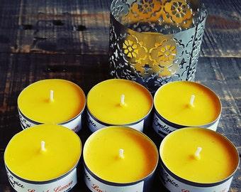 Lavish Lemon Scented Soy Wax Tealights 6pack