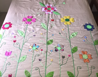 Handmade Patchwork Quilt with Flowers