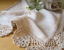 Linen table runner Dining table runner Rustic home decor Fabric table runner Crochet tablecloth Grey table runner Linen tablecloth Linens
