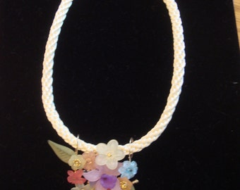 Lucite flowers and kumihimo necklace