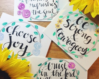 inspirational hand lettered note cards/ hand lettered note cards/ modern calligraphy note cards/ inspirational cards/ spiritual notecards
