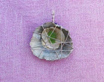 Seashell and Sea Glass Wire Wrapped Pendant