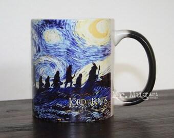 Lord of the Rings Mug, Starry Night Mug, Color Changing Mug, Coffee Mug, Lord Of The Rings Art, The Lord Of The Rings, Magic Mug, Dragon Mug