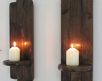 Pair Art Deco style Rustic wall sconce's / Candle Holders  Reclaimed wood & Jacobean dark oak wax