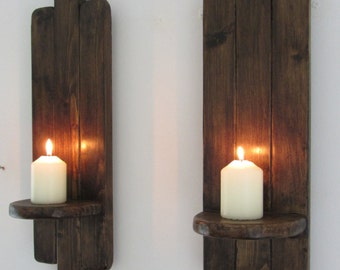 Pair Art Deco style Rustic wall sconce's / LED Candle Holders  Reclaimed wood & Jacobean dark oak wax