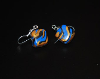 Blue, Gold, and Black Tiger Striped Square Earrings