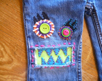 Bright and Colorful | Girls Jeans | Size 3T | Monster Jeans | Kids Clothes |