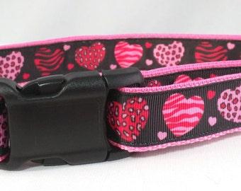 Wild Hearts Dog Collar - Pink Hearts Dog Collar - FREE Shipping