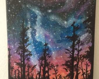 Starry night sunset with trees