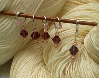 Set of five stitch markers, purple glass, 4x closed ring,  1x removable, free postage in UK