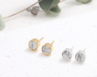 White Howlite Small Circle Stud Earrings, Round White Marble Bezel Stud Earrings