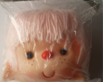 "Westrim  Crafts 4"" Mitzy DOLL HEAD With Yarn Pink Hair and HANDS, New In Package Vintage Doll Head, Doll Parts"