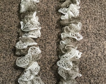 Knitted Brown and White Ruffled Scarf