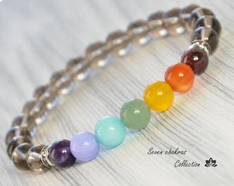 Elegant Chakra Bracelet - Gift for her - Yoga Jewelry - Smoky quartz and others gemstone beads symbolizing the 7 chakras - Yoga Bracelet