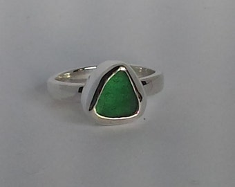 Deep Teal seaglass statement ring,  Size 5.75