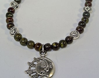 Sun/Moon Dragon Blood Jasper Necklace