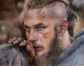 Ragnar Lodbrok Vikings A3 Original Coloured Pencil Drawing