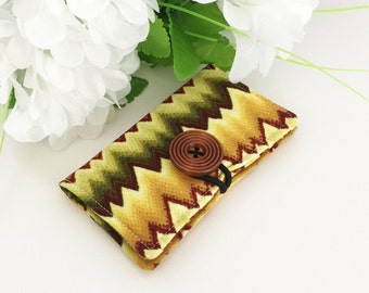 Fabric Card Holder - For Business Cards, Credit Cards, Opal Card - Green ZigZags