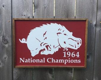 Arkansas Razorback Wood Sign / 1964 National Champions / College Football / Vintage Style Sign / SEC / Go Hogs / Farmhouse Sign
