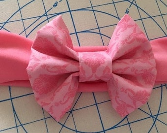 Light Pink Bow Headband, Damask Bow, Big Bow Headband, Newborn Headband, Baby Headband, Child Headband, Adult Headband